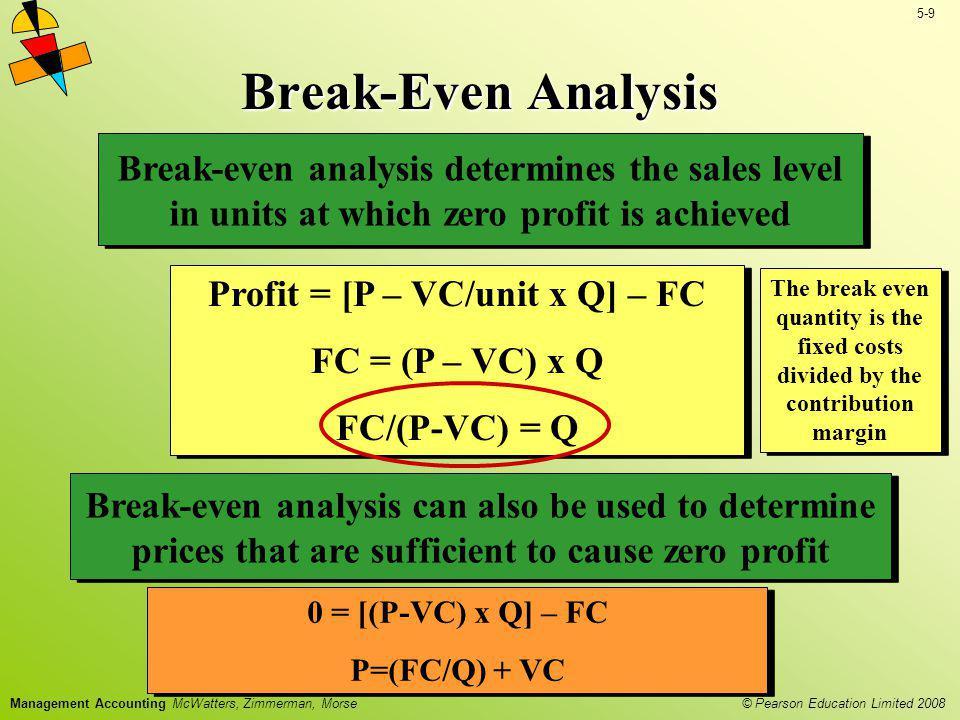 Profit = [P – VC/unit x Q] – FC